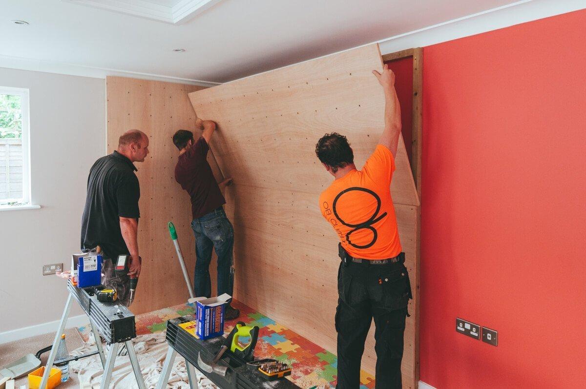 building Harveys climbing wall