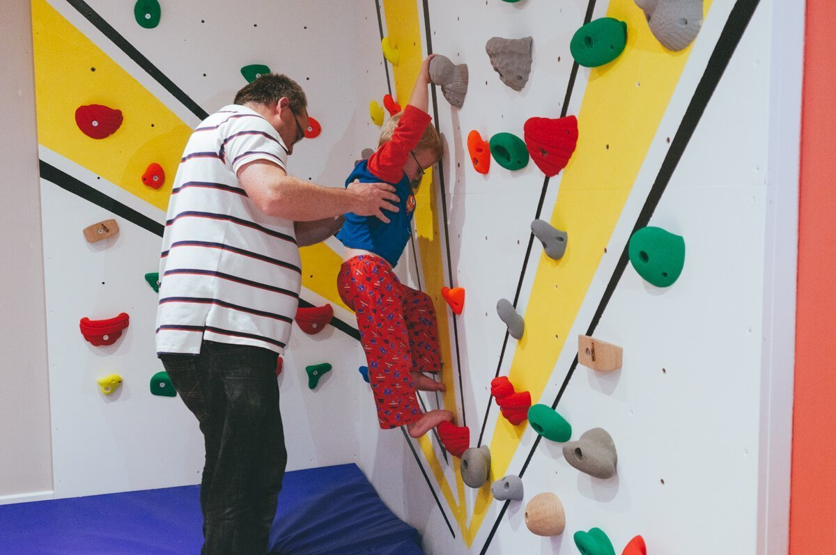 building Harveys climbing wall