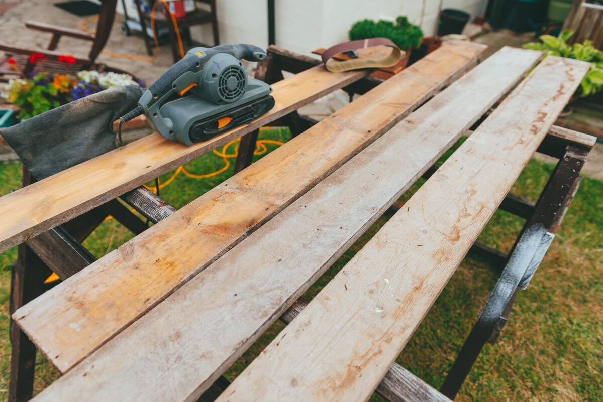 Building a photo frame from reclaimed wood.