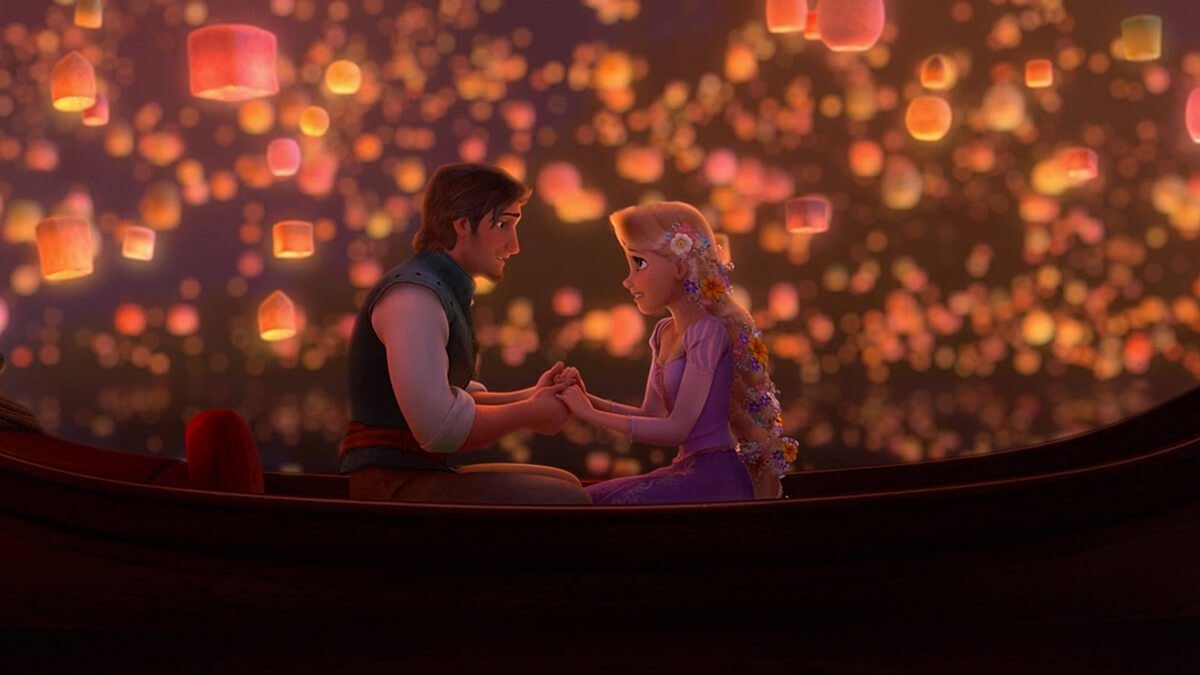 The original scene from Disney's film 'Tangled'.