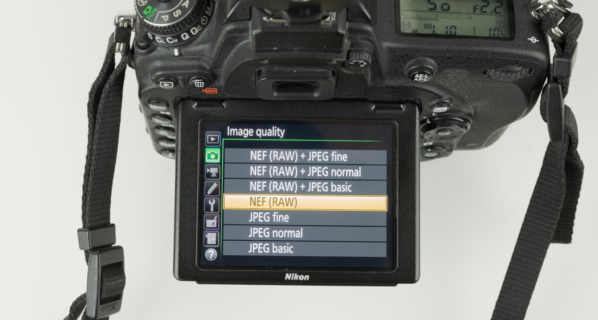 nikon d750 file type menu settings