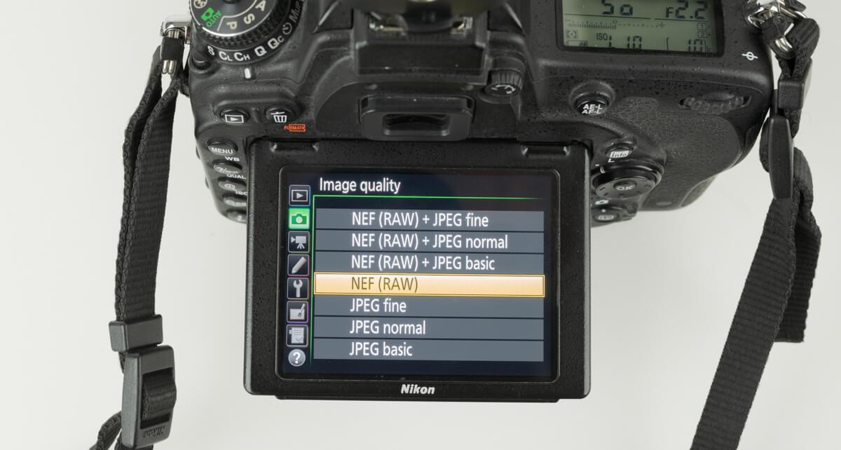 nikon d750 file type menu settings