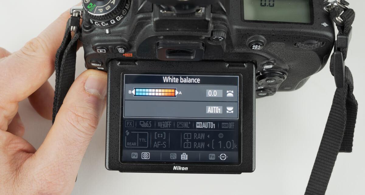 set the cameras white balance to auto