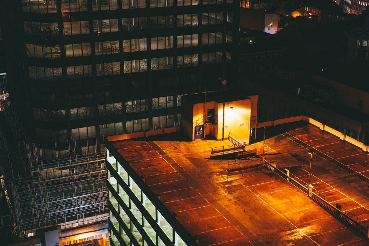 urban exploration on readings rooftops at night